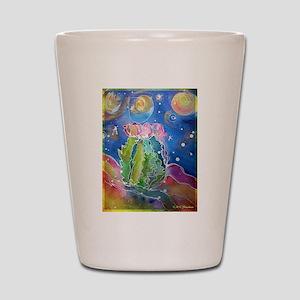 cactus at night! soutwest art! Shot Glass