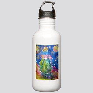 cactus at night! soutwest art! Water Bottle