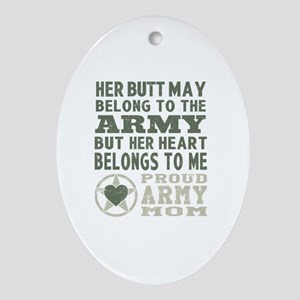 Proud Army Mom 2 Oval Ornament
