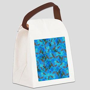 Dragonfly Flit Red Splash Canvas Lunch Bag