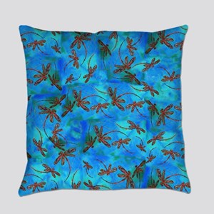 Dragonfly Flit Red Splash Everyday Pillow