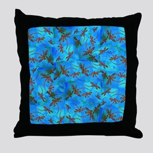 Dragonfly Flit Red Splash Throw Pillow