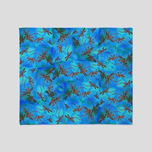 Dragonfly Flit Red Splash Throw Blanket