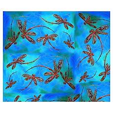 Dragonfly Flit Red Splash Poster