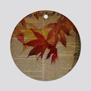 vintage paris fall leaves  Round Ornament