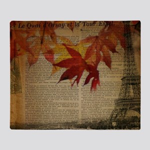 vintage paris fall leaves  Throw Blanket