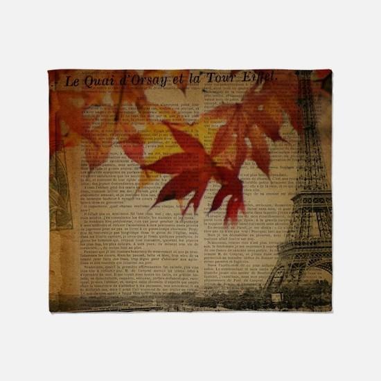 vintage paris fall leaves  Throw Blanket