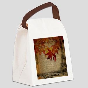 vintage paris fall leaves  Canvas Lunch Bag