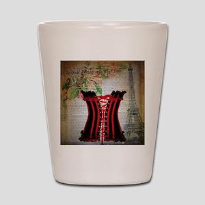 hot corset vintage paris Shot Glass