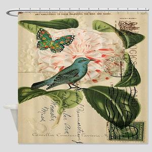 french botanical flower bird Shower Curtain