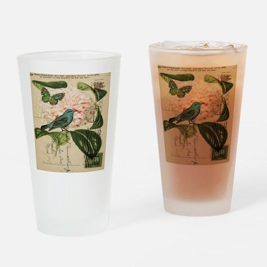french botanical flower bird Drinking Glass