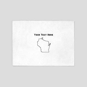 Wisconsin Outline (Custom) 5'x7'Area Rug