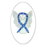 Thyroid Disease Angel Ribbon Sticker Oval -50 Pk