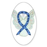 Thyroid Disease Angel Ribbon Sticker Oval -10 Pk