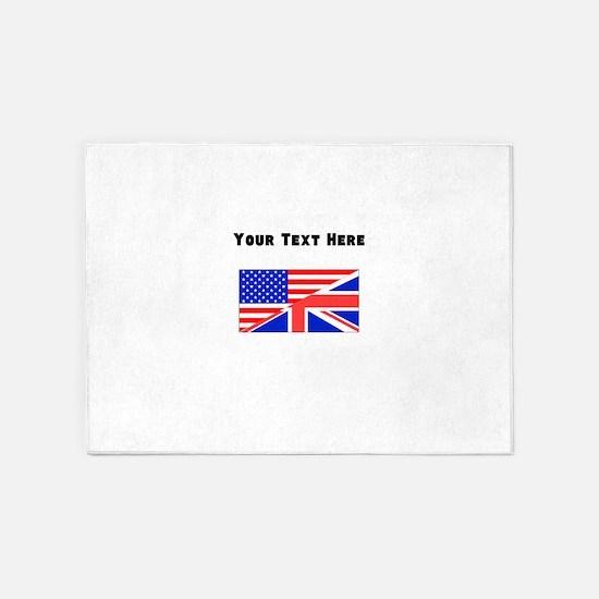 British American Flag 5'x7'Area Rug