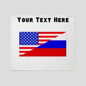 Russian American Flag Throw Blanket