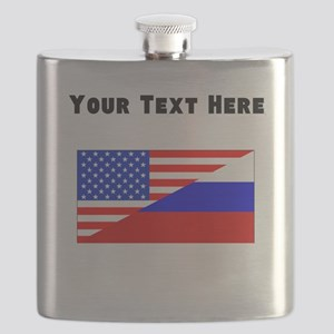 Russian American Flag Flask