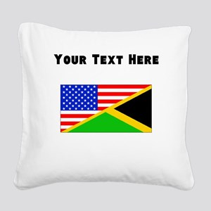 Jamaican American Flag Square Canvas Pillow