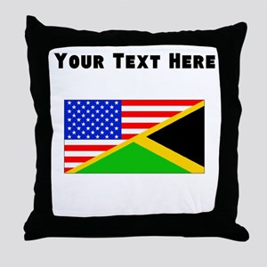 Jamaican American Flag Throw Pillow