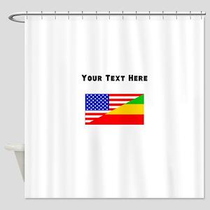 Ethiopian American Flag Shower Curtain