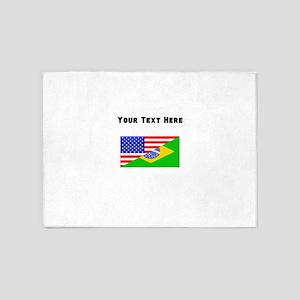 Brazilian American Flag 5'x7'Area Rug