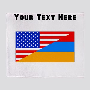 Armenian American Flag Throw Blanket