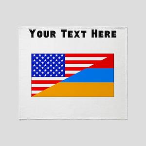 Armenian American Flag Throw Blanket