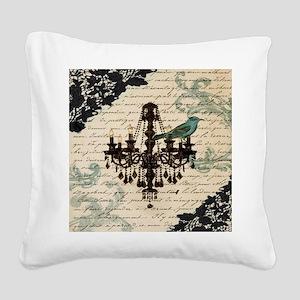 girly chandelier vintage pari Square Canvas Pillow