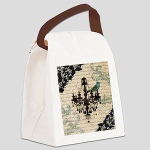girly chandelier vintage paris  Canvas Lunch Bag