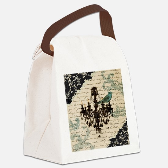 girly chandelier vintage paris  Canvas Lunch Bag