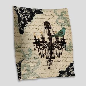 girly chandelier vintage paris Burlap Throw Pillow