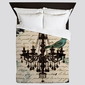 girly chandelier vintage paris  Queen Duvet