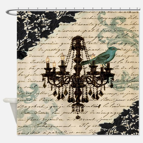 girly chandelier vintage paris  Shower Curtain