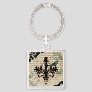 girly chandelier vintage paris  Square Keychain