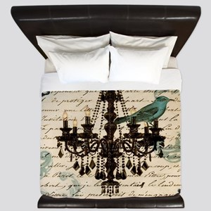 girly chandelier vintage paris  King Duvet