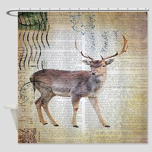 vintage scripts wild deer Shower Curtain