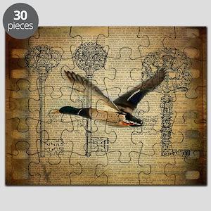 vintage rustic western duck Puzzle