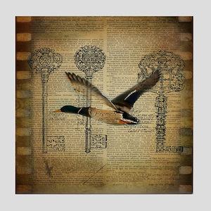 vintage rustic western duck Tile Coaster