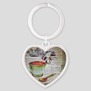 romantic chic paris coffee Heart Keychain