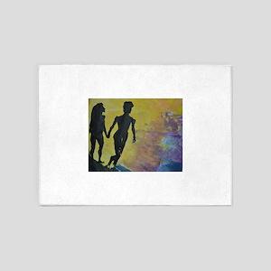Lovers walk on the Beach 5'x7'Area Rug