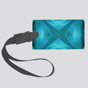 abstract teal geometric pattern Large Luggage Tag