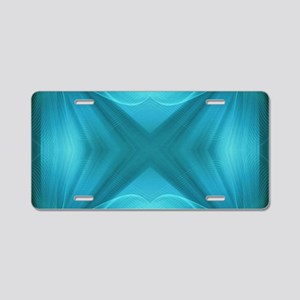 abstract teal geometric pat Aluminum License Plate
