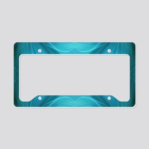 abstract teal geometric patte License Plate Holder