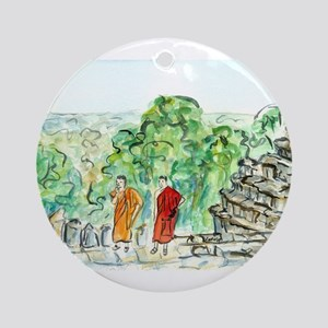 Buddhist Temple Monks Round Ornament