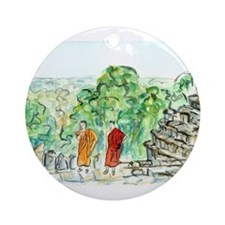 Buddhist Temple Monks Round Ornament
