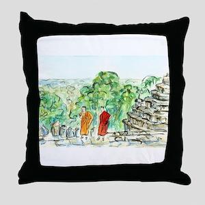 Buddhist Temple Monks Throw Pillow