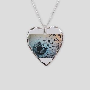 Wulan's Dandelion Necklace Heart Charm
