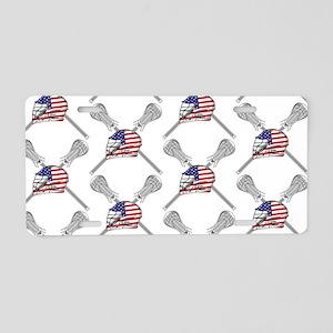 American Flag Lacrosse Aluminum License Plate