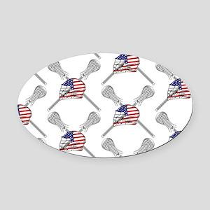American Flag Lacrosse Oval Car Magnet