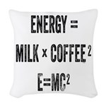 Energy Milk Coffee Woven Throw Pillow
